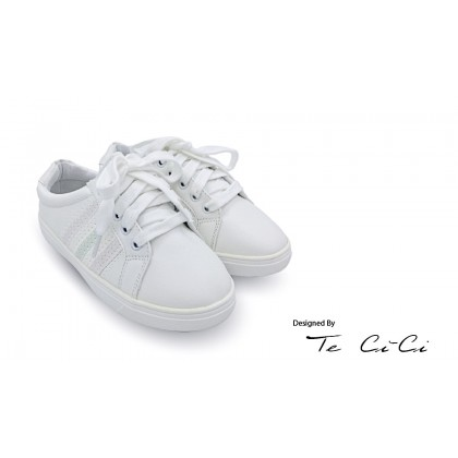 Kids Lace Up White Sneakers With  Colour Changing Stripes