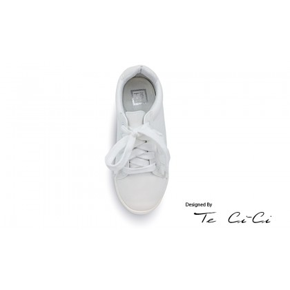 Kids Plain White Lace Up Sneakers