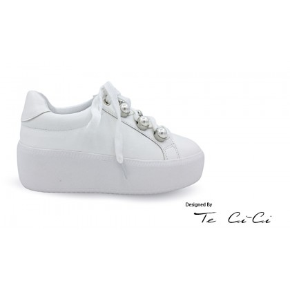 Platform Sneakers With Pearl